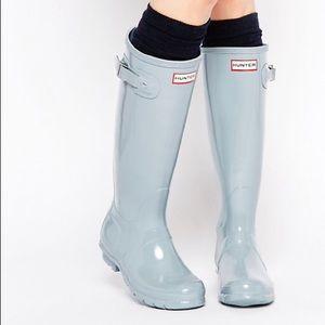 Hunter Original Porcelain Blue Tall Gloss Boots